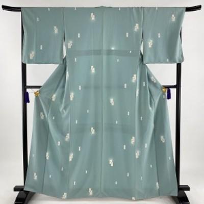 小紋 美品 秀品 幾何学模様 青緑 袷 身丈164cm 裄丈67cm M 正絹 中古