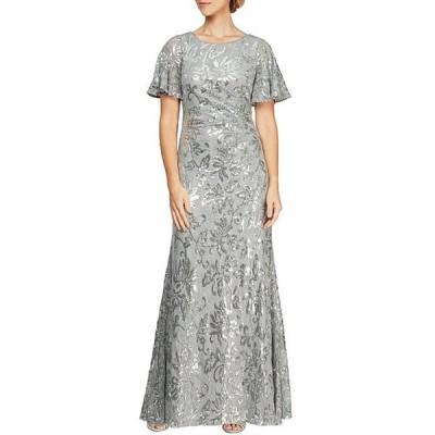 アレックスイブニングス レディース ワンピース トップス Sequin Lace Short Sleeve A-Line Gown