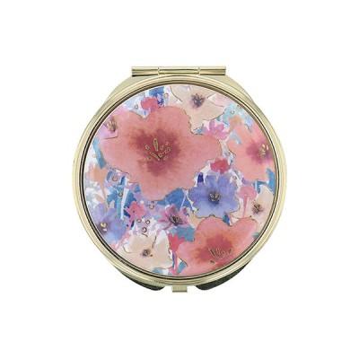 手鏡 ミラー 拡大鏡 キラキラ プレゼント コンパクトミラー フラワーパターン GMR0144-OR オレンジ 雑貨 おしゃれ かわいい