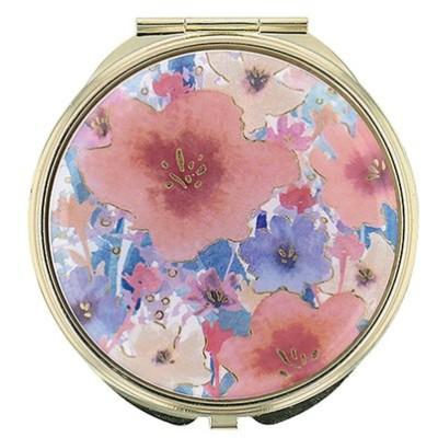 手鏡 コンパクトミラー フラワーパターン GMR0144-OR オレンジ 雑貨 かわいい 人気 おしゃれ