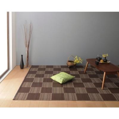 ラグ 江戸間2畳(174×174cm) 色-ブラウン /国産 日本製 い草風モダン柄 リビングマット 水洗い可能