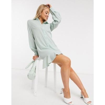 ミスガイデッド レディース ワンピース トップス Missguided shirt dress with frill hem in sage green
