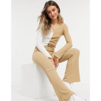 エイソス レディース カジュアルパンツ ボトムス ASOS DESIGN coordinating knit flared pants in camel Camel