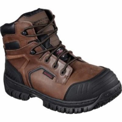 スケッチャーズ レインシューズ・長靴 Work Hartan Onkin Steel Toe Waterproof Boot Dark Brown