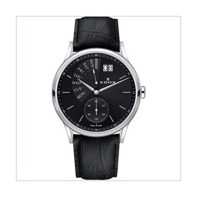 Edox Men's Les Vauberts 42mm Black Leather Band Steel Case Sapphire Crystal Quartz Watch 34500 3 NIN並行輸入品