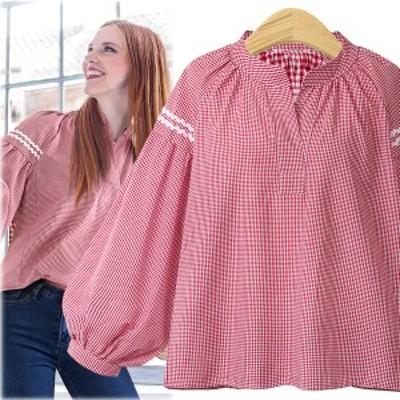 【 L - 4XL 】 大きいサイズ Vネック  長袖 シャツ Tシャツ チェック 秋 3XL 2XL 70593