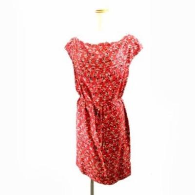 【中古】Carolina Herrera キャロリーナヘレラ シルクワンピース ドレス 総柄 赤 レッド 4 M レディース