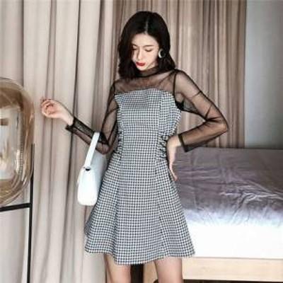 ドレス ワンピース ミニ丈 長袖 20代 チェック 黒 シースルー 透け感 上品 春夏 結婚式 お呼ばれ a417