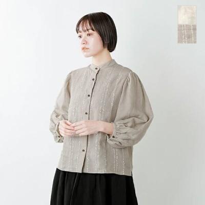 soi-e ソア リネン刺繍バルーンスリーブノーカラーシャツ 811102 2021ss新作