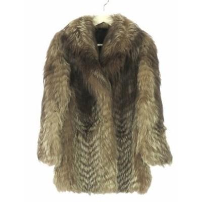 【中古】サガフォックス SAGA FOX リアルファー ジャケット コート 毛皮 11 茶色 ブラウン レディース