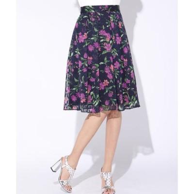 Viaggio Blu / ビアッジョブルー シフォンラメカットジャカードフラワープリントスカート