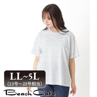 大きいサイズ レディース トップス 綿100% 花柄 tシャツ  半袖 カットソー  夏 新作