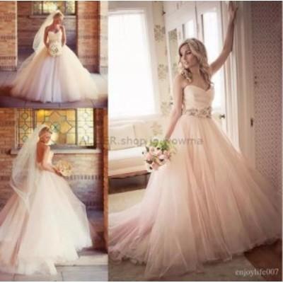 ウェディングドレス/ステージ衣装 ブラシ/ライトピンクチュールスウィートハートのウェディングドレスAラインノースリーブの花嫁衣装