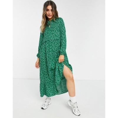 ニュールック レディース ワンピース トップス New Look tie neck midi smock dress in green ditsy floral Green pattern