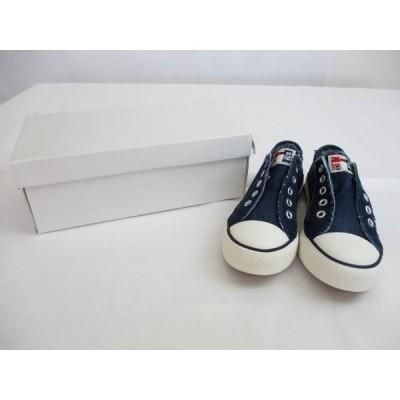未使用 シューズインクローゼット Shoes in Closet ダメージデニムキャンバススニーカー 21.0 青 ブルー スリッポン 合成繊維 切