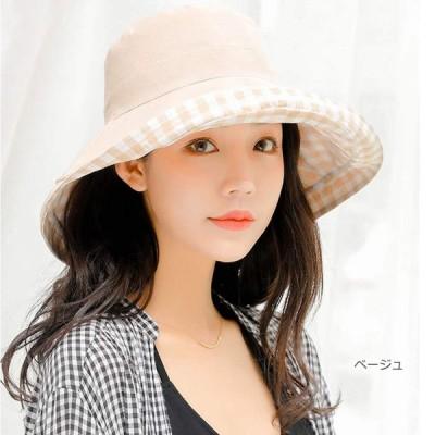 AMgrocery (ベージュ) UVカット 帽子 つば広 帽子 リバーシブル 軽量 折りたたみ コンパクト ギンガムチェック 日よけ 春夏