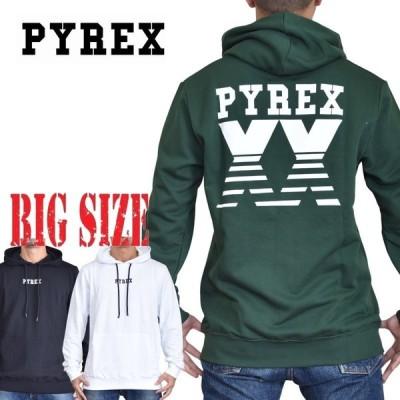 大きいサイズ メンズ PYREX パイレックス パーカー フーディー プルオーバー 裏毛スウェット 黒 ブラック 白 ホワイト グリーン XXL