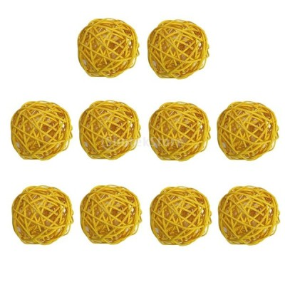 幼稚園 ホテル 飾り 籐のボール 自然 10個入り 全9色 - 黄