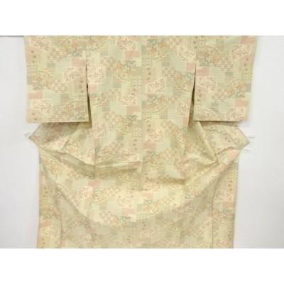 リサイクル 石畳に花古典柄織り出し十日町紬単衣着物