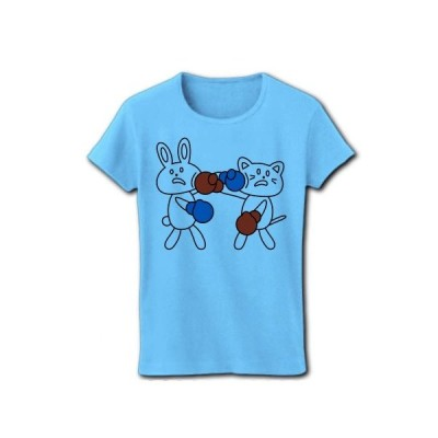 ウサギと猫の相打ち リブクルーネックTシャツ(ライトブルー)
