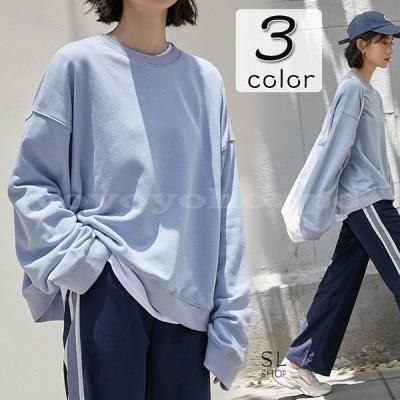 トレーナーレディース大きいサイズtシャツ無地カットソー長め長袖ゆったり体型カバートップス