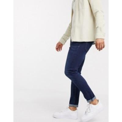 リバーアイランド メンズ デニムパンツ ボトムス River Island skinny jeans in dark blue Dark blue
