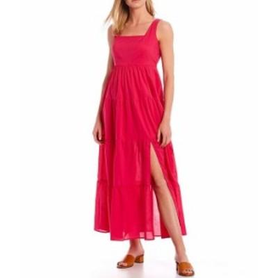 カルバンクライン レディース ワンピース トップス Sleeveless Square Neck Cotton Tiered Dress Cerise