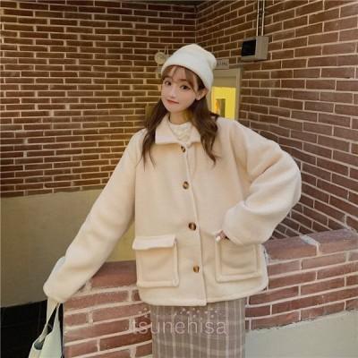 ジャケットレディースアウターダッフルコート折り襟ポケット無地モノトーンゆったりスクール風カジュアル厚手温かい通勤通学