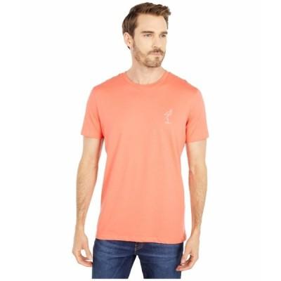セレクテッドオム シャツ トップス メンズ Wayne Embossed Short Sleeve O-Neck Tee Coral