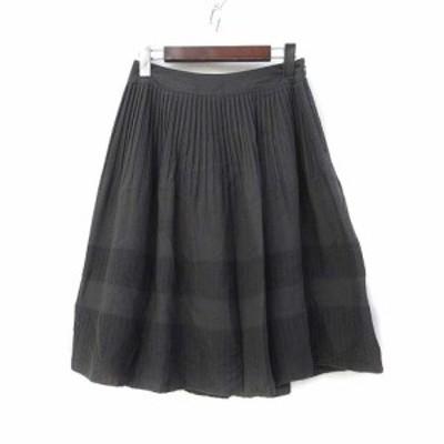 【中古】ロートレアモン LAUTREAMONT スカート 38 M グレー ボーダー プリーツ ミニ レディース