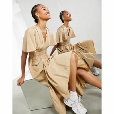 エイソス ASOS EDITION レディース ワンピース ワンピース・ドレス Shirred Waist Midi Dress In Camel キャメル