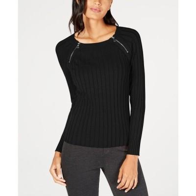 アイエヌシーインターナショナルコンセプト ニット&セーター アウター レディース I.N.C Petite Zip-Detail Ribbed Sweater,  Deep Black