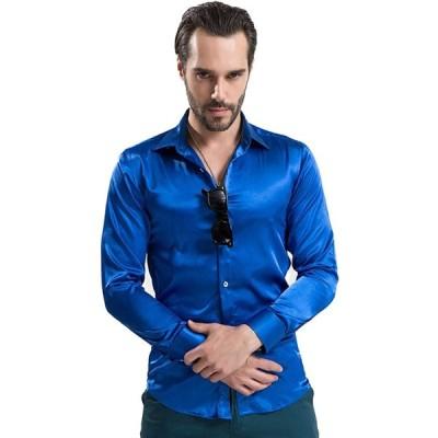 [ノン・ラビッシュ] サテンシャツ ドレスシャツ 長袖 メンズ レディース シャツ 無地 ワイシャツ カッターシャツ ポリエステル cms-0006