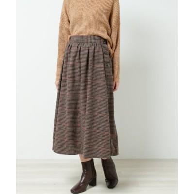 【レイカズン/RAY CASSIN】 起毛チェックサイドボタンスカート