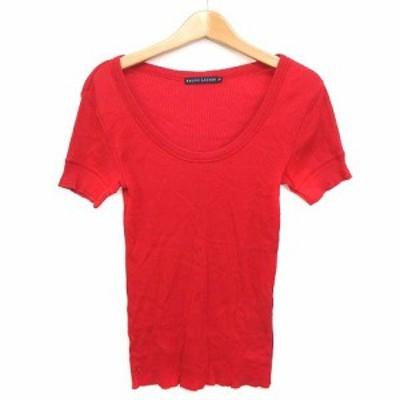 【中古】ラルフローレン RALPH LAUREN Tシャツ カットソー リブ ストレッチ 刺繍 コットン 赤 M ■VG レディース