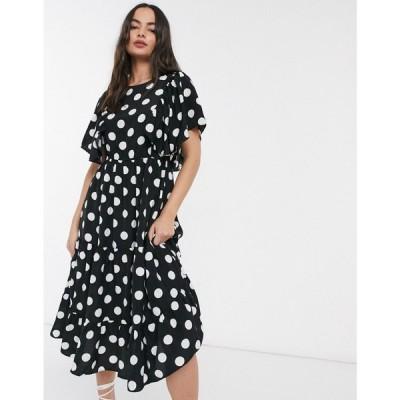 ワイ エー エス Y.A.S レディース ワンピース ティアードドレス ワンピース・ドレス Janessa polka tiered dress ブラック/ホワイト