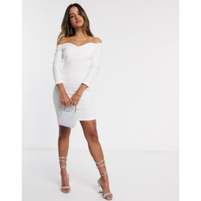 ベスパー ミニドレス レディース Vesper Cammie mini bardot dress in cream エイソス ASOS