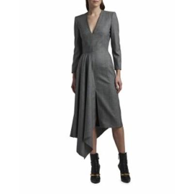 アレキサンダー・マックイーン レディース ワンピース トップス Draped Long-Sleeve V-Neck Midi Dress GRAY/WHITE