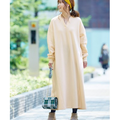 裏起毛マキシ丈ワンピース (ワンピース)Dress