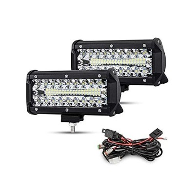 BUNKER INDUST 7 Inch LED Light Pods with Wiring Harness Kit, 2Pcs Spot Floo