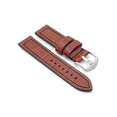 DASSARI Flash フラッシュ ワニ模様のレザー 時計バンド ストラップ。茶色 - 24mm 黒のステッチ付き。 並行輸入品