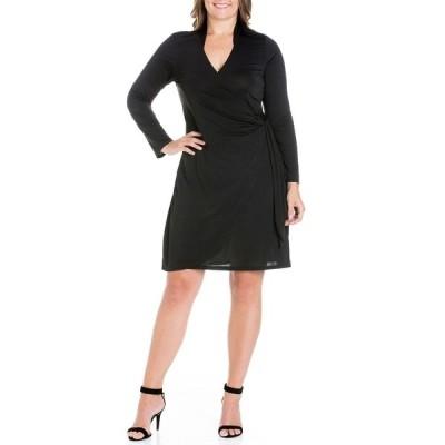 24セブンコンフォート ワンピース トップス レディース Women's Plus Size Mini Wrap Dress Black