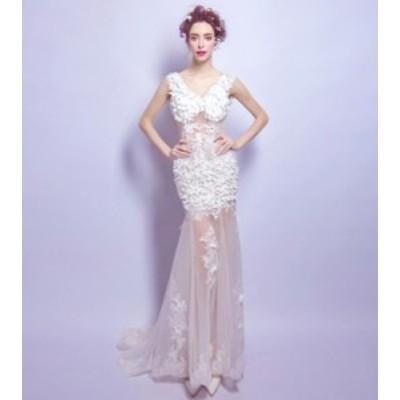 ウエディングドレス 2020春新作品 ブライダル 結婚式 マーメイドラインドレス 花嫁衣装 華やか補整花柄 セクシー ホワイト系 編み上げ TS