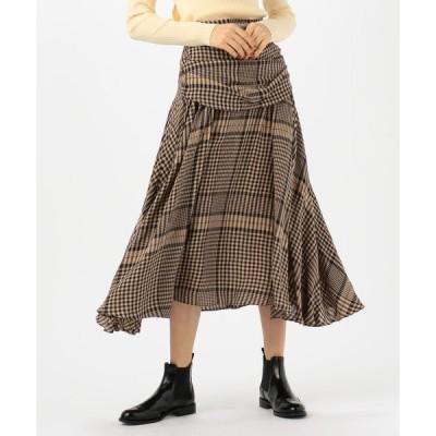 【TOMORROWLAND BUYING WEAR】BAUME レーヨン チェックドレープスカート