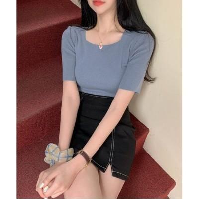 tシャツ Tシャツ SONYUNARA(ソニョナラ)スクエアネック半袖ニット
