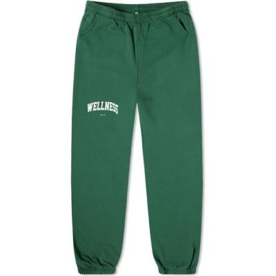 スポーティ アンド リッチ Sporty & Rich メンズ スウェット・ジャージ ボトムス・パンツ Wellness Ivy Sweat Pant Racing Green/White
