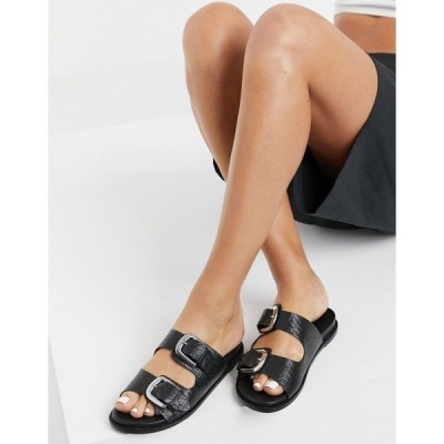 ヴェロモーダ レディース サンダル シューズ Vero Moda leather buckle slip on sandals in black Black