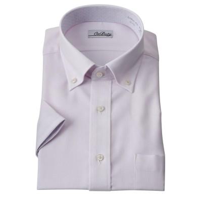 消臭芯地使用別生地配色デザイン形態安定半袖ワイシャツ(ボタンダウン) (ワイシャツ)Shirts, テレワーク, 在宅, リモート