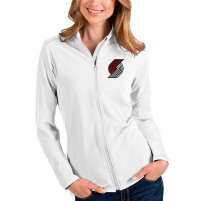 レディース スポーツリーグ バスケットボール Portland Trail Blazers Antigua Women's Glacier Full-Zip Jacket - White トレーナー