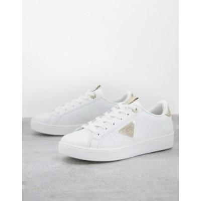 リバーアイランド レディース スニーカー シューズ River Island side plate sneakers in white and metallic White
